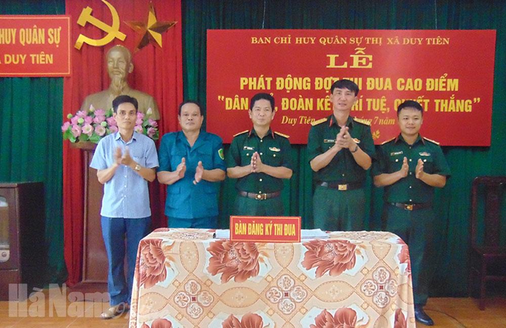 Ban CHQS thị xã Duy Tiên phát động đợt thi đua cao điểm