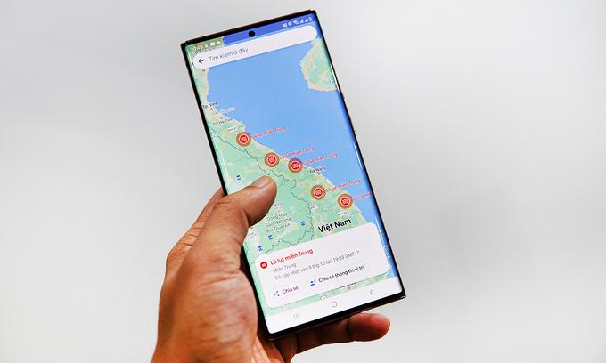 Google Maps thêm cảnh báo lũ tại miền Trung