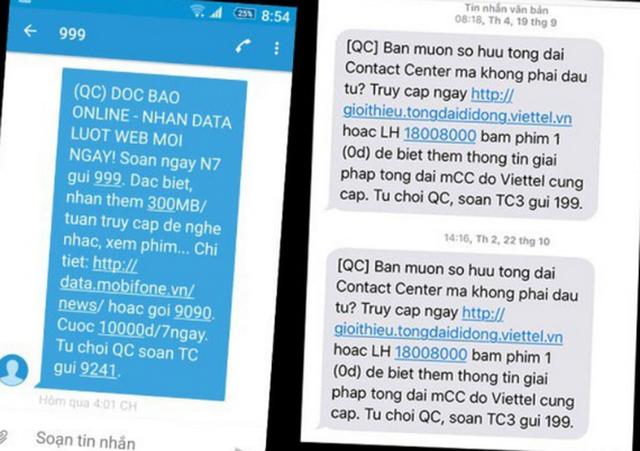 Hướng dẫn thuê bao di động đăng ký từ chối cuộc gọi tin nhắn quảng cáo rác